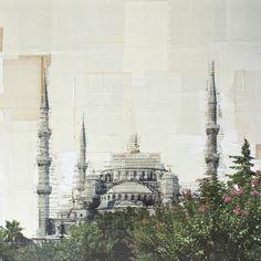Nicolò Quirico. Istanbul, Santa Sofia - 2012 - stampa fotografica e collage - cm. 80 x 80         __________________________________________   Milano 29th May to 29th June 2013_Costantini Art Gallery