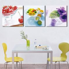Wall Art Painting 3 Panels Kitchen Fruit Decoration Canvas Abstract Painting On Wall Hanging Combinative PictureNo Frame Online with $16.57on Qq3222703137's Store | DHgate.com