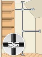 Closet DIY Tricks and Tools: Industrial Pipe, With a Twist... To overcome an odd configuration or sketchy walls, build a scaffold using commercial Speed-Rail fittings (hollaender.com) and closet rods. Use them to make a system supported by vertical rods screwed to the ceiling and floor or to make freestanding racks. The result looks like other industrial-pipe fixes but does them one better: System options include connectors with swiveling joints that can handle awkward angles for just a few…