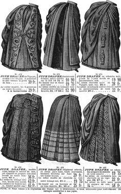 Catálogo francês de saias em 1886.                                                                                                                                                                                 Mais