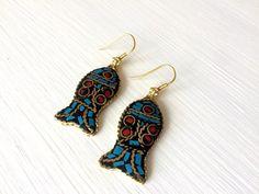 Fish Earrings, Turquoise and Coral Earrings, Boho Earrings, Tribal Boho Jewelry, Dangle Ethnic Earrings, Nepal Jewelry, Birthday Gift