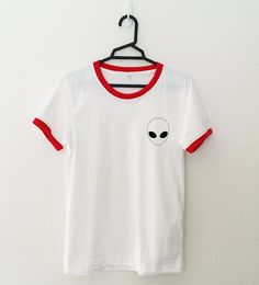 Alien pocket tee ringer tshirt for womens girls teens unisex grunge tumblr fashion clothing shirt cool shirts funny top  Color may appear slightly
