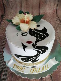 Тhe Lady of Hibiscus - cake by Galito Fondant Flower Cake, Fondant Cakes, Cupcake Cakes, Pretty Cakes, Beautiful Cakes, Amazing Cakes, Hairdresser Cake, 26 Birthday Cake, Bolo Original