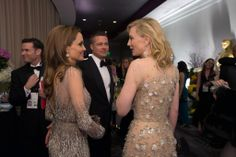 "After winning the category Performance by an actress in a leading role for her role in ""Blue Jasmine"", actress Cate Blanchett talks with presenters Angelina Jolie and Brad Pitt. The Oscars® are presented live on ABC from the Dolby® Theatre in Hollywood, CA Sunday, March 2, 2014. credit: Aaron Poole / ©A.M.P.A.S"