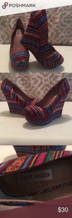 Multi color Steve Madden wedges Lightly worn Multi color Steve Madden wedges! 9.5 Steve Madden Shoes Wedges