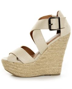 My Delicious Hall Natural Linen Platform Wedges