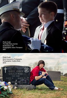Christian Golczynski holds an American flag at the grave site of his fallen father Marine SSGT Marcus (Marc) Golczynski 9 years after iconic photo was taken of Christian holding back tears as he received the flag at his father's funeral. Military Love, Military Honors, Military Homecoming, American Pride, American Flag, Usmc, Marines, Sad Stories, Iconic Photos