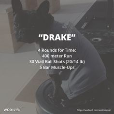 """Drake"" WOD - 4 Rounds for Time: 400 meter Run; 30 Wall Ball Shots (20/14 lb); 5 Bar Muscle-Ups"