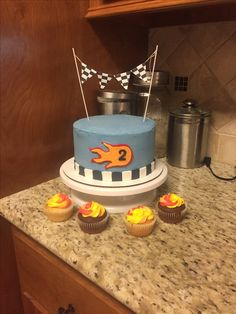 Flame racing cake & cupcakes