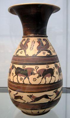 Corinthian jug 620 BC Staatliche Antikensammlungen - Category:Staatliche Antikensammlungen - Room 1 - Wikimedia Commons