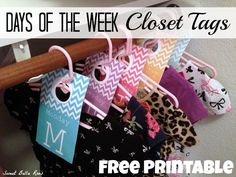 Days Of The Week Closet Tags- Free Printable