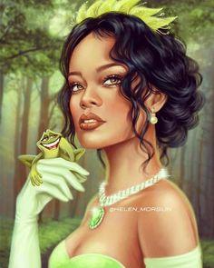 Helen Morgun - Disney Rihanna as Tiana Disney Fan Art, Disney Word, Film Disney, Disney Princess Art, Tiana Disney, Tangled Princess, Princess Merida, Naomi Scott, Rachel Mcadams