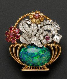 Circa 1960 Black Opal, Ruby, Colored Diamond, and White Diamond Brooch, by Raymond Yard Opal Jewelry, Art Deco Jewelry, Modern Jewelry, Fine Jewelry, Jewelry Design, Opal Necklace, Jewellery Box, Antique Jewelry, Vintage Jewelry