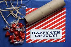 Missionary Mailmake firecrackers.  Use tissue paper- slide thru toilet b Paper roll tie with ribbon, wrap with happy 4th