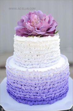 The French Tangerine Wedding cake.this screams my sister, HEATHER! Pretty Cakes, Beautiful Cakes, Amazing Cakes, Purple Cakes, Purple Wedding Cakes, Camo Wedding, Cake Cookies, Cupcake Cakes, Shoe Cakes