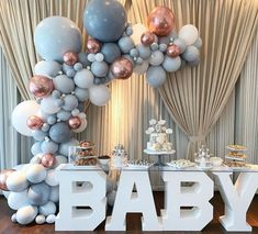 A classic grey and rose gold baby shower. BABY Table Balloons Cake and Sweets . Gender Reveal Party Decorations, Baby Gender Reveal Party, Baby Shower Decorations For Boys, Boy Baby Shower Themes, Baby Shower Balloons, Baby Shower Games, Deco Baby Shower, Baby Shower Sweets, Gold Baby Showers