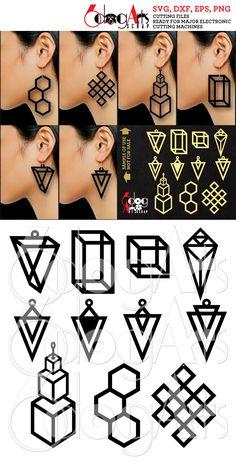 11 Geometric Wooden / Acrylic Earring Pendant Templates Vector Digital SVG DXF Jewellery Lower Information Obtain Laser Slicing Plasma Cricut Leather Earrings, Leather Jewelry, Silver Jewelry, Silver Ring, Stylo 3d, Cricut, Laser Cutting, Die Cutting, Cutting Files