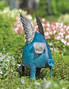 "Flying Pig    When pigs fly, who knows what might happen?      This handpainted metal porker is a delightful, three-dimensional work of art for your garden, lawn or a large planter. Colorful sculpture is an endearing addition to your landscape and will age to a pleasing, rusty patina when left outdoors    Handpainted; no two are exactly alike 4"" ground stakes anchor it securely Painted steel 6"" W x 12"" D x 15"" H installed Gardener's Supply Exclusive       $34.98"