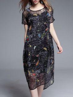 Printed Two Piece Silk Midi Dress