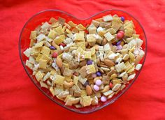 Luci's Morsels: Valentine's Chex Mix (can be made gluten-free). Homemade Valentine's Day treats!