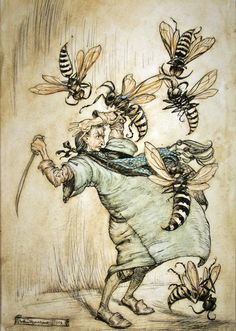 Arthur Rackham Illustration from Gulliver's Travels - Gulliver's Combat with the Wasps Arthur Rackham, Pictures Images, Colorful Pictures, Gulliver's Travels, Galleries In London, Art Et Illustration, Little Golden Books, Adventures In Wonderland, Fantasy Artwork