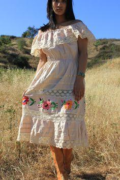 Sexy Senorita Oatmeal Cotton Bohemian Gypsy Vintage Mexican Hand Embroidered Dress. $42.00, via Etsy.