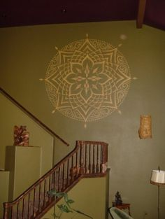Absolutely love this golden lotus mural! Perfect idea in yoga room.
