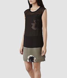 Allsaints-Khaki-Nisia-Silhouette-Dress-Size-10-BNWT