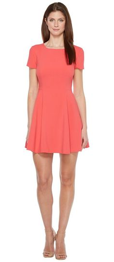Halston Heritage Short Sleeve Wide Crew Fit Flare Dress (Poppy) Women's Dress - Halston Heritage, Short Sleeve Wide Crew Fit Flare Dress, DFI052078-840, Apparel Top Dress, Dress, Top, Apparel, Clothes Clothing, Gift, - Fashion Ideas To Inspire