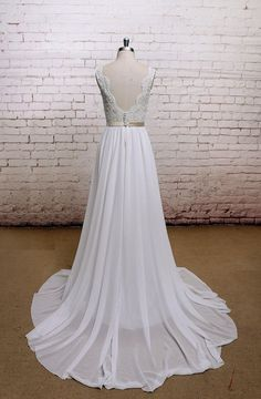 V-Back Wedding Dress with Chiffon Skirt A-line Style by LaceBridal