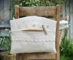 Buttons & lace clothes peg bag by From Rags To Bags