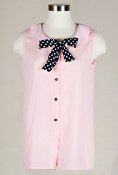 Top - Preppy Days Peter Pan Collar Top with Polka Dot Neck Tie In Blush Pink