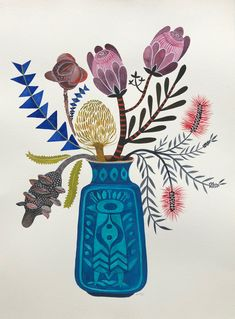 """Autumn Natives in West German Peacock Vase"" by Sally Browne. Paintings for Sale. Bluethumb - Online Art Gallery"