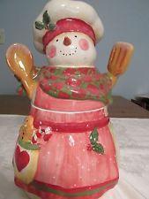 HOLIDAY COOKIE JAR CERITFIED INTERNATIONAL SNOWLADY COOKIE JAR BY SUSAN WINGET