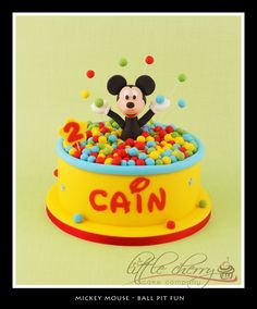 Mickey Mouse Ball Pit Fun Cake  I'm thinking this for Aidens birthday cake