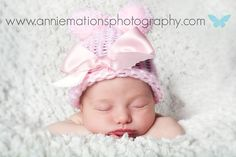 newborn portraits baby girl - hat - white - blanket - sleeping http://www.anniemationsphotography.com/blog