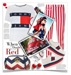When In Doubt Wear Red by pomy22 on Polyvore featuring polyvore fashion style Tommy Hilfiger Dondup Gucci Hermès Beats by Dr. Dre Topshop clothing