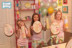 Girlie Arts and Crafts Party camp themed party.