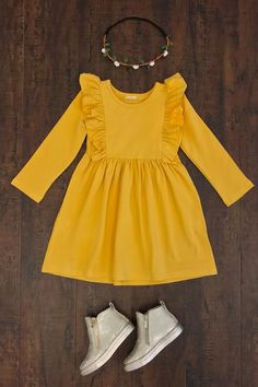 Miranda Mustard Dress Pair of moccasins instead Baby Girl Dress Design, Baby Girl Dress Patterns, Little Girl Outfits, Little Girl Fashion, Little Girl Dresses, Toddler Fashion, Toddler Outfits, Kids Outfits, Kids Fashion