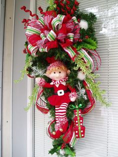 Christmas Swag Girl Holiday Wreath Swag OR Boy by AnnieOjan