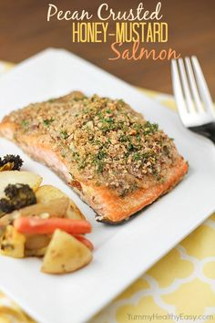 Pecan Crusted Honey-Mustard Salmon - easy  delicious dinner in under 30 minutes!