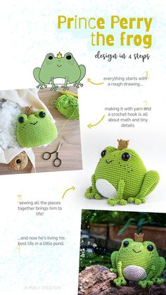 Prince Perry the Amigurumi Frog – PDF crochet pattern by Airali design Prince Perry the Amigurumi Frog – PDF crochet pattern by Airali design Crochet Kawaii, Crochet Frog, Crochet Diy, Crochet Geek, Crochet Crafts, Crochet Projects, Beginner Crochet, Crochet Animal Patterns, Stuffed Animal Patterns