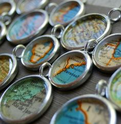 Bridesmaid Gift - Personalized Vintage Map Necklace Pendant Jewelry- You Pick City. $28.00, via Etsy.