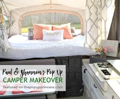 Such a cute pop up camper makeover. I love the calming color scheme. #popupcamper #rvremodel #rvlife #tenttrailer #popup