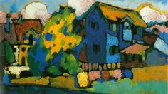"""Wassily Kandinsky, """"Murnau mit blauem Haus"""" (1908) en la exposición 'Blaues Haus und Gelber Klang' que se celebra en el Schlossmuseum de Murnau."""