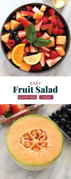 This fruit salad recipe makes for a healthy and flavorful summer side dish or kid-friendly snack! Made from fresh fruit and a homemade dressing, this fruit salad is ready to enjoy in 15 minutes tops! Caprese Salad Recipe, Salmon Salad Recipes, Greek Salad Recipes, Healthy Dessert Recipes, Vegan Desserts, Vegan Food, Dressing For Fruit Salad, Fresh Fruit Salad, Fruit Salad Ingredients