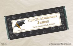Graduation party favors - personalized candy bar wrappers from www.customfavors.com. #graduation #personalizedcandy #chocolate #customcandy #scroll  Gotta remeber for the party!