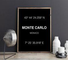 Monte Carlo Kunstdruck Monte Carlo Koordinaten von FineArtHunter