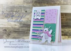 Quick & Easy Penguin Playmates Card Wink Of Stella, Basic Grey, Winter Cards, Catalogue, Happy Colors, Paper Goods, Penguins, Stampin Up, Christmas Cards
