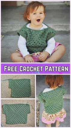 Crochet Baby Granny Square Top Free Pattern